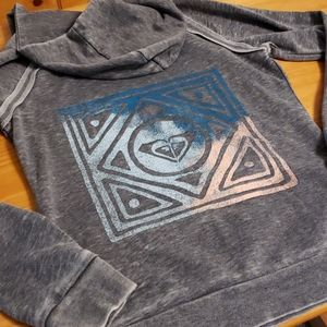 Roxy Hoodie Sweatshirt, Button Collar, Medium